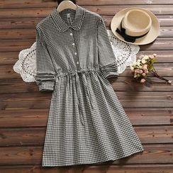 Kiche - Long-Sleeve Gingham Midi A-Line Shirt Dress