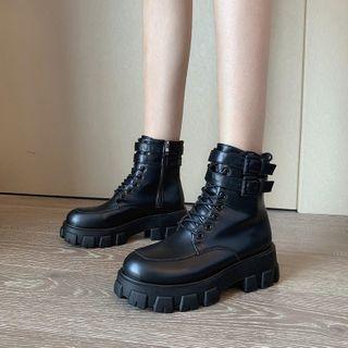 hunigala(フニガラ) - Platform Lace Up Short Boots
