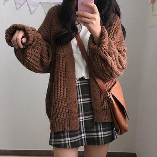 MIKIGA - 寬鬆扭擰針織開衫