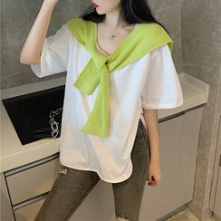 Natta - Elbow-Sleeve T-Shirt / Shawl