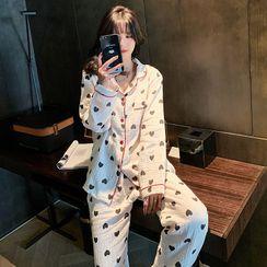 Endormi - Pajama Set: Heart Print Shirt + Pants