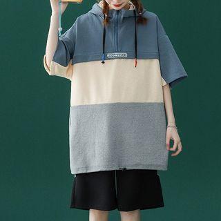 Gurun Vani - Set: Elbow-Sleeve Color Panel Hoodie + Sweatshorts