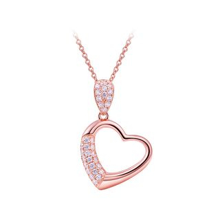 BELEC - 925 Sterling Silver Heart Pendant with White Austrian Element Crystal and Necklace