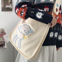 Geolte - Sheep Embroidered Shoulder Bag