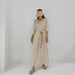 DABAGIRL - Self-Tie Stripe Maxi T-Shirt Dress