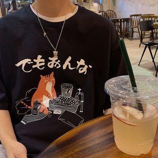 JUN.LEE - Cartoon Round-Neck Short Sleeve T-Shirt