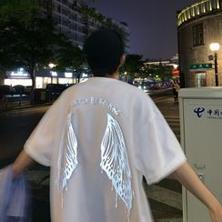 Basique - Elbow-Sleeve Wings Print T-Shirt