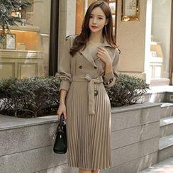 Hasu - Long-Sleeve Double-Breasted Pleated Coatdress