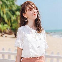 KANF - 领结带荷叶边短袖雪纺衬衫