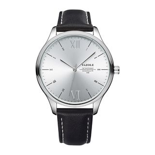 YAZOLE - Roman Numeral Faux Leather Strap Watch