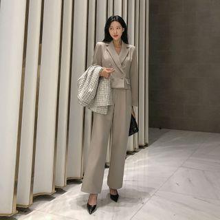 DABAGIRL - Office Look Crop Blazer & Wide Pants Set