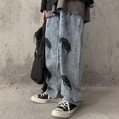 Koiyua - Face Print Wide-Leg Jeans
