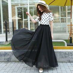 Cherry Dress - Tripple Layered A-Line Maxi Skirt