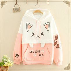Kawaii Fairyland - Cat Printed Color-Block Hoodie With Front Pocket