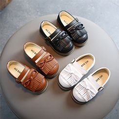 Doradas - Kids Bow-Accent Fringed Belted Faux-Leather Shoes