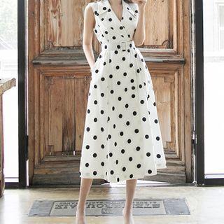 ISMY - Sleeveless Dotted Midi A-Line Dress