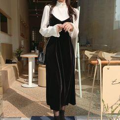 Leoom - Long-Sleeve Top / Spaghetti Strap Dress