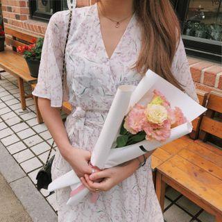 Tangihouse - Short-Sleeve Midi A-line Chiffon Dress
