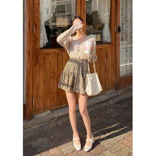 chuu - Band-Waist Frilled Floral Miniskirt