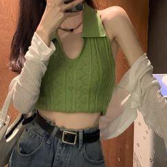 Rhames - 掛脖式針織背心 / 白色防晒罩衫