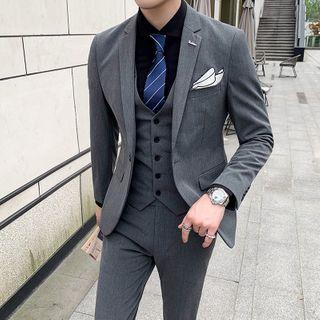 Bay Go Mall - Suit Set: Button-Up Blazer + Vest + Slim-Fit Dress Pants