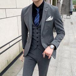 百高 - 西服套裝: 鈕扣西裝外套 + 馬甲 + 修身西褲