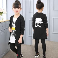 PAM - Kids Set: Long-Sleeve Lettering T-Shirt + Blazer + Pants