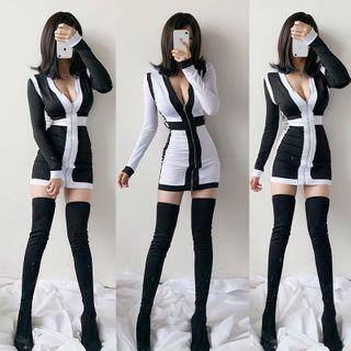 Ohnana - Belted Contrast Trim Zip-Up Mini Sheath Dress
