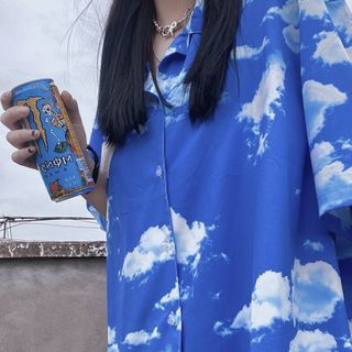 Giuliana - Elbow-Sleeve Sky Print Shirt