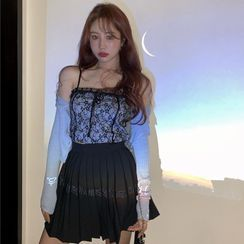 BBChic - Lace Camisole / Light Cardigan / Pleated Skirt