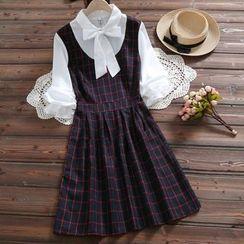 Snow Angel - 蝴蝶結裝飾格子長袖A字連衣裙