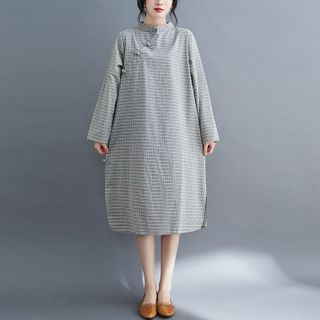 Planetary - Long-Sleeve Mandarin Collar Plaid Midi A-Line Dress