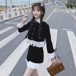 Yoshimi - Set: Long-Sleeve Ruffle Trim Shirt + Ruffle Trim Shorts
