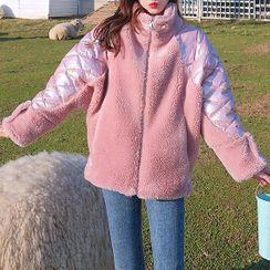 Romantica - Faux Shearling Paneled Zip Jacket