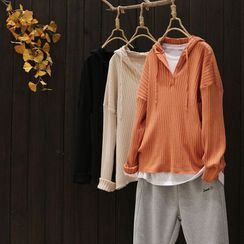 YOYO - Buttoned Ribbed Knit Hoodie