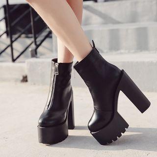 安若 - 粗跟厚底短靴