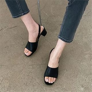 MONOBARBI - Plain Kitten Heel Sandals 2 Designs