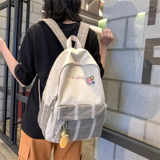 Willow Bloom - Plaid Panel Canvas Backpack