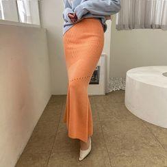 DABAGIRL - Pointelle Knit Maxi Mermaid Skirt