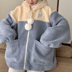 Dreamkura - 雙色連帽抓毛拉鏈外套