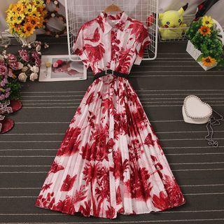 Knutsford - Short-Sleeve Print Midi A-Line Dress