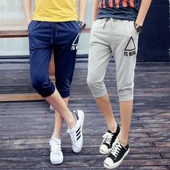 百高 - 印花七分运动裤