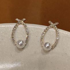 Calypso - 仿珍珠水钻耳钉