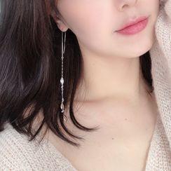 Honne - 925 Sterling Silver Leaf Threader Earring
