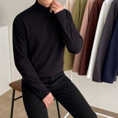 Seoul Homme - Mock-Neck Colored Top