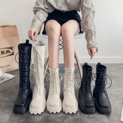 Putcho - Lace-Up Platform Short Boots / Tall Boots