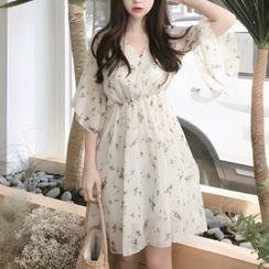 Staan - Elbow-Sleeve Floral Print Mini A-Line Chiffon Dress