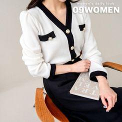 Seoul Fashion - PLUS SIZE Ringer Knit Cardigan
