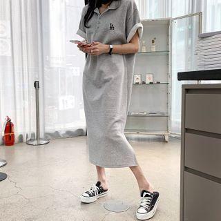 DEEPNY - Embroidered Boxy Long Polo Shirtdress
