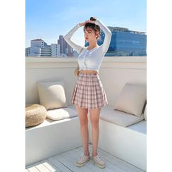 chuu(チュー) - -5 Youth Plaid Pleat Miniskirt vol.15